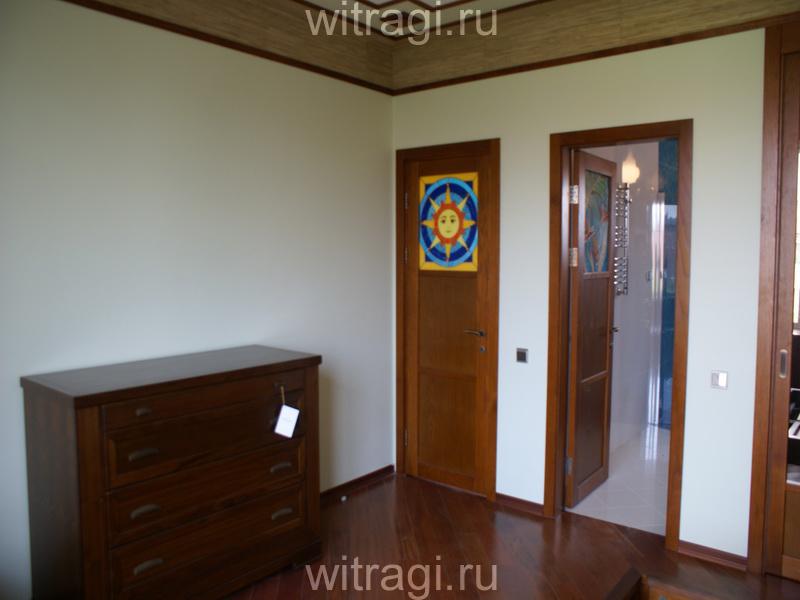 Пленочный витраж: Витраж для межкомнатной двери «Солнышко» (вид снаружи)