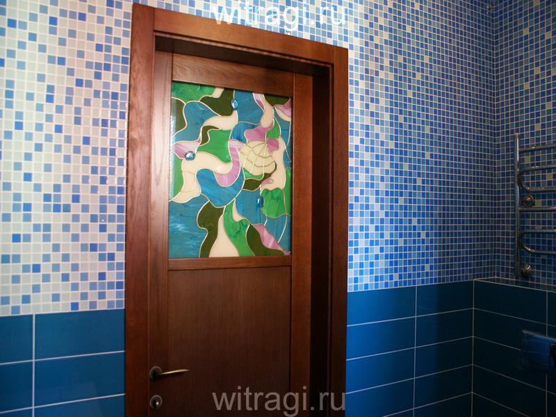 Пленочный витраж: Витраж для двери в ванную «Водоём»