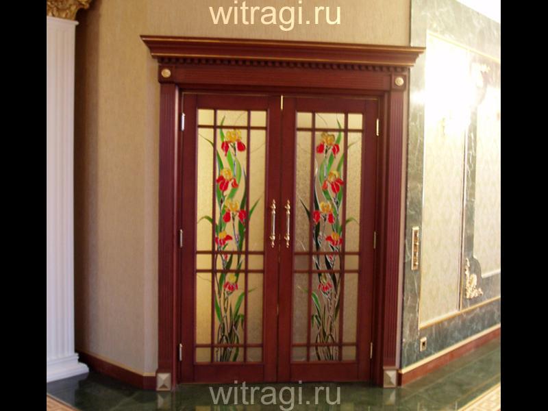 Пленочный витраж: Витраж на двери «Яркие ирисы»