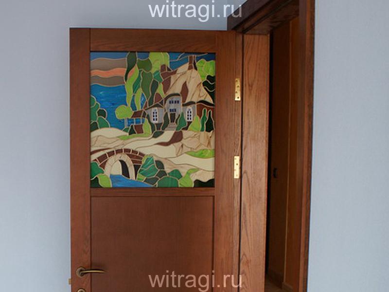 Пленочный витраж: Витражная вставка в дверь «Вечерний пейзаж»