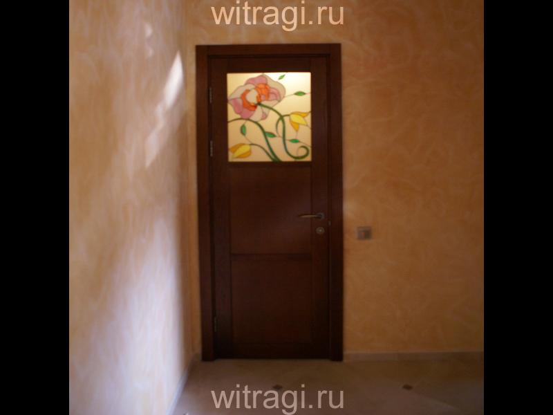 Пленочный витраж: Витраж для дверей «Садовые цветы»