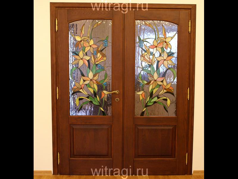 Витраж Тиффани: Витраж в двери «Жёлтые лилии»