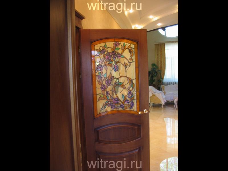 Витраж Тиффани: Витраж для межкомнатной двери «Волшебный розовый куст»