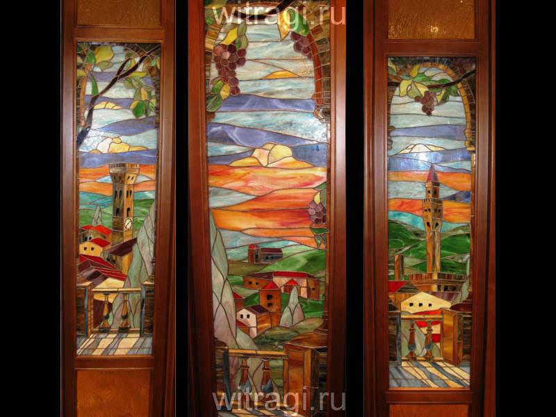 Витраж Тиффани: Витражи для дверей «Флорентийский закат»