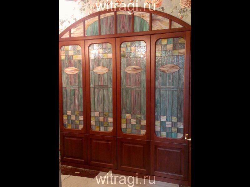 Витраж Тиффани: Витражи для дверей «Геометрия Ар Нуво»