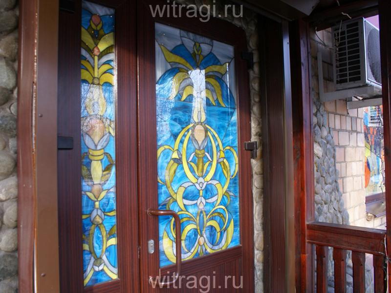 Витраж Тиффани: Витражи для дверей «Орнамент мартовское солнце»