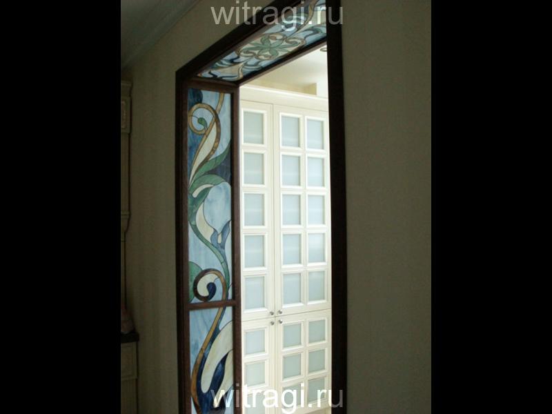Витраж Тиффани: Дверной портал с витражами «Орнамент в холодной цветовой гамме»