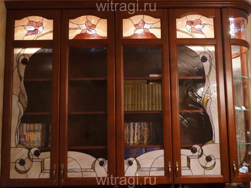 Витраж Тиффани: Витражи в дверцы шкафа «Цветочный узор по периметру»
