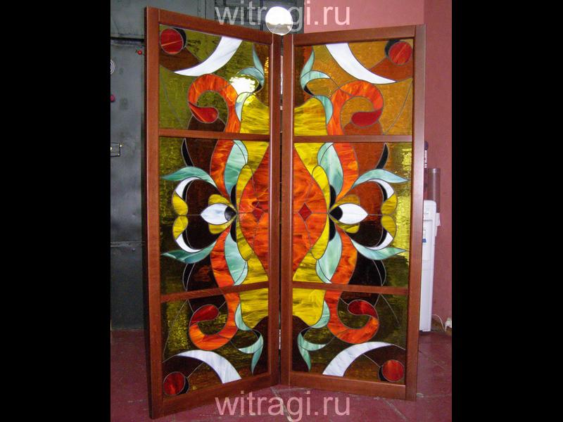 Витраж Тиффани: Витраж для ширмы «Яркий орнамент»