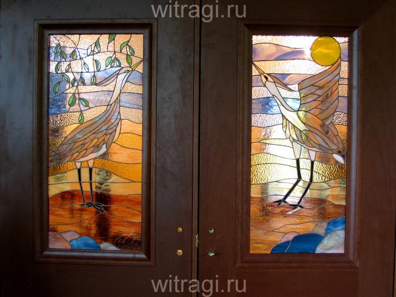 Витраж Тиффани: Витражи для дверей «Цапли, утро»