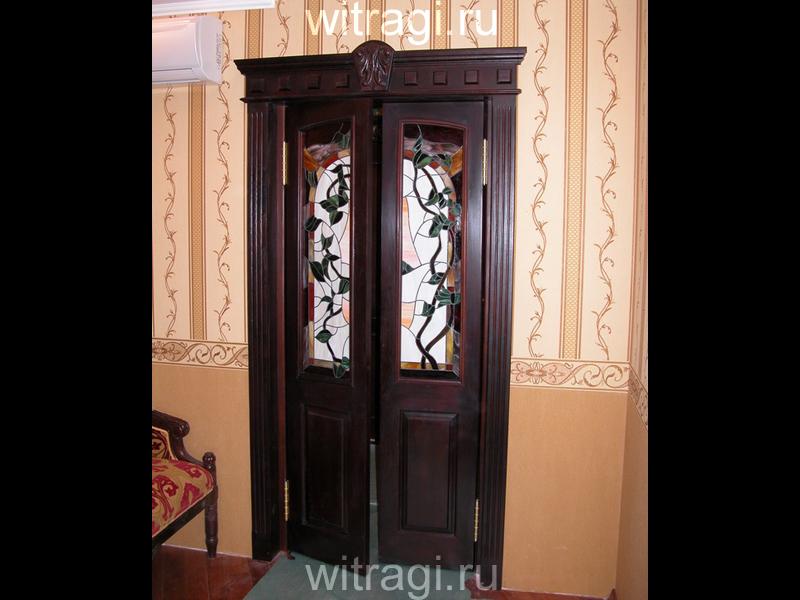 Витраж Тиффани: Дверной витраж «Плющ»