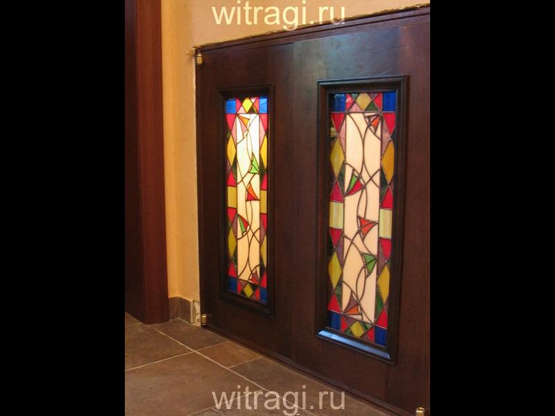 Витраж Тиффани: Витраж в двери «Яркий традиционный орнамент»