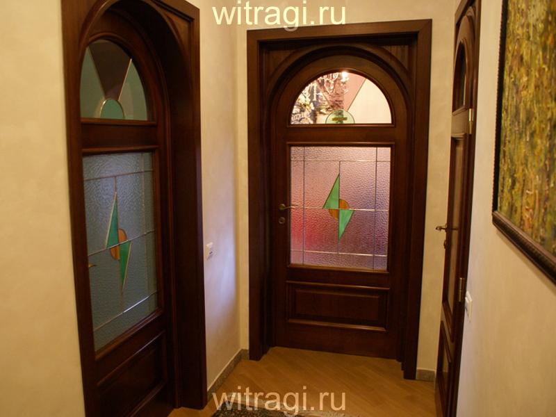 Витраж Тиффани: Витражи для дверей «Простая геометрия в стиле Ар деко»