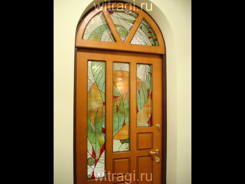 Витраж Тиффани: Витражи для дверей «Апрель. Абстракция в стиле Ар Деко»