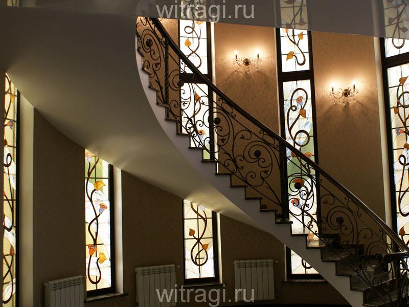 Витраж Тиффани: Витражи для лестничной клетки «Солнечные вьюнки»