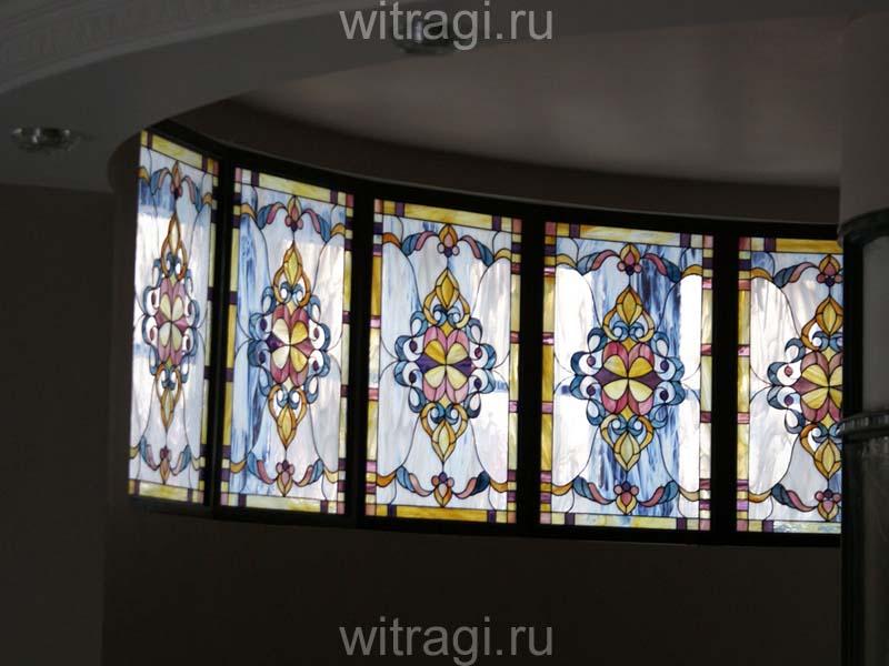 Витраж Тиффани: Витражи на окна эркера «Разноцветное кружево»