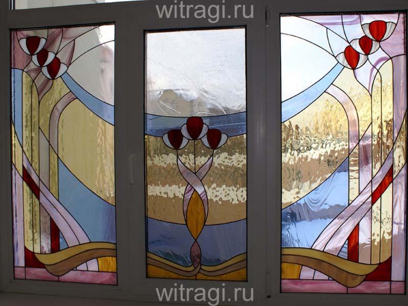 Витраж Тиффани: Витражи на окна «Нежность» в стиле «Ар-Деко»