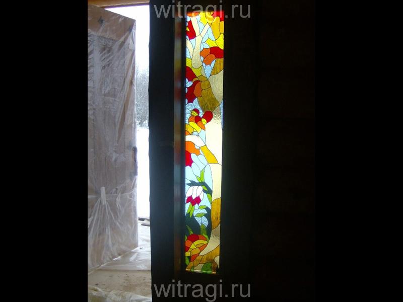 Витраж Тиффани: Витраж в стеклопакете «Осенний лес»