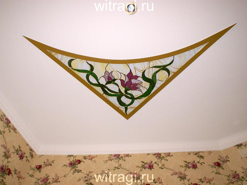 Пленочный витраж: Угловой витраж на потолок «Цветочный уголок»
