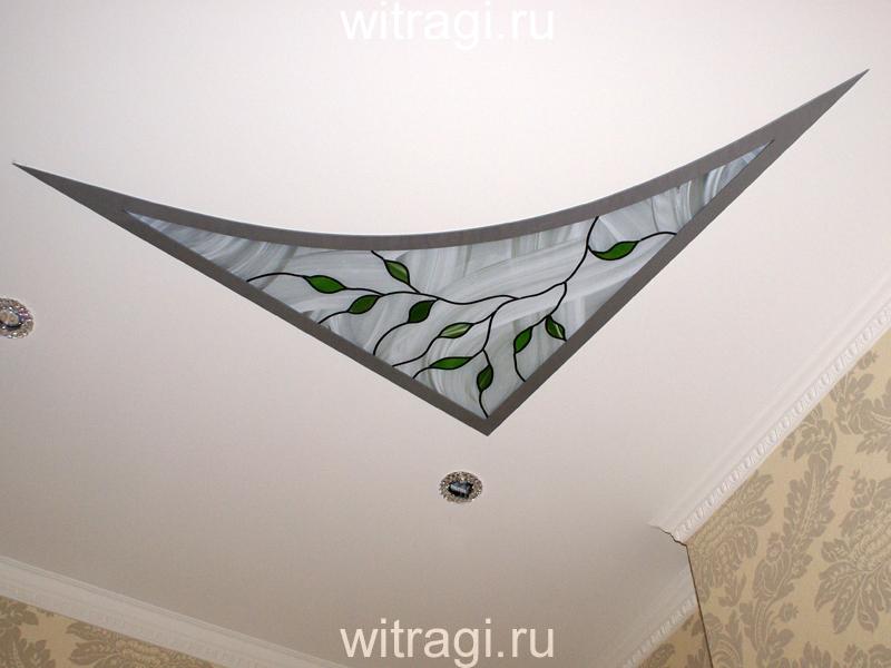 Пленочный витраж: Витраж на потолок «Берёзовая веточка»