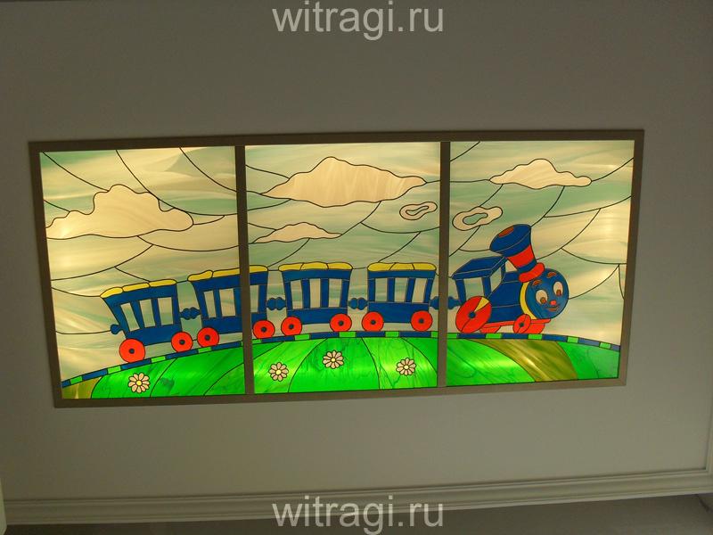 Пленочный витраж: Витраж на потолок в детскую «Паровозик из Ромашково»