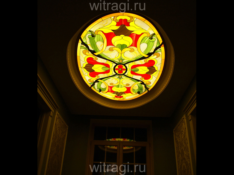 Пленочный витраж: Витраж для потолка «Цветочный орнамент»