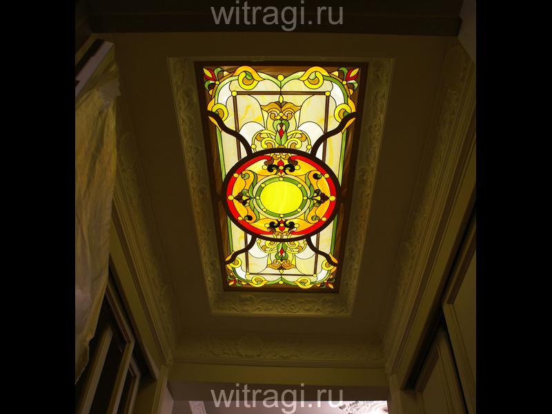 Пленочный витраж: Потолочный витраж «Цветочный орнамент»