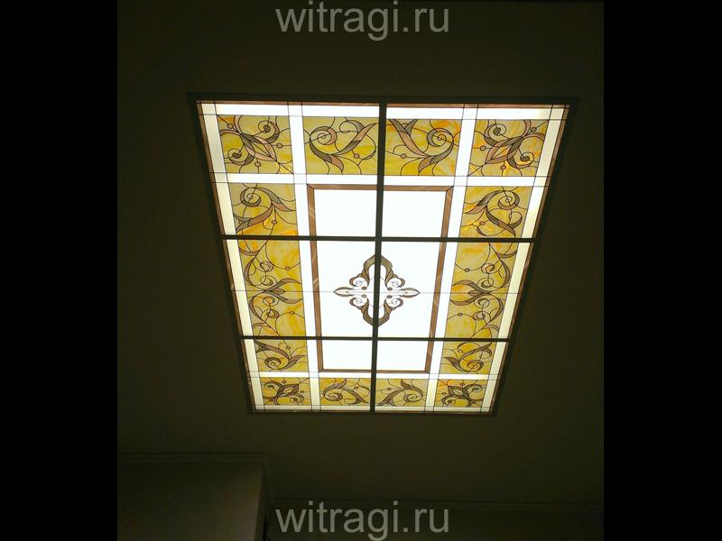 Пленочный витраж: Витраж на потолок «Цветочный орнамент»