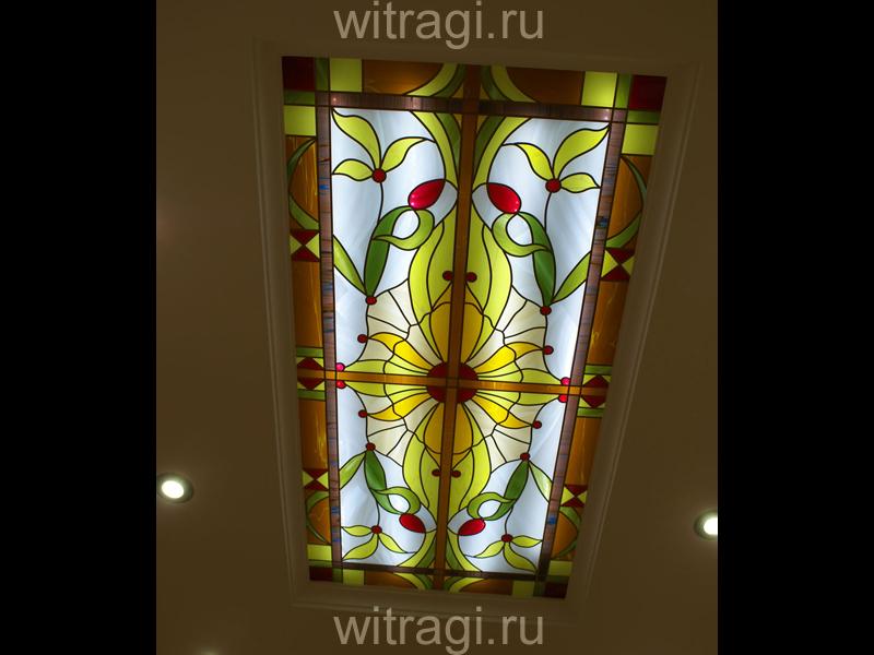 Пленочный витраж: Витраж на потолок «Цветочная абстракция»