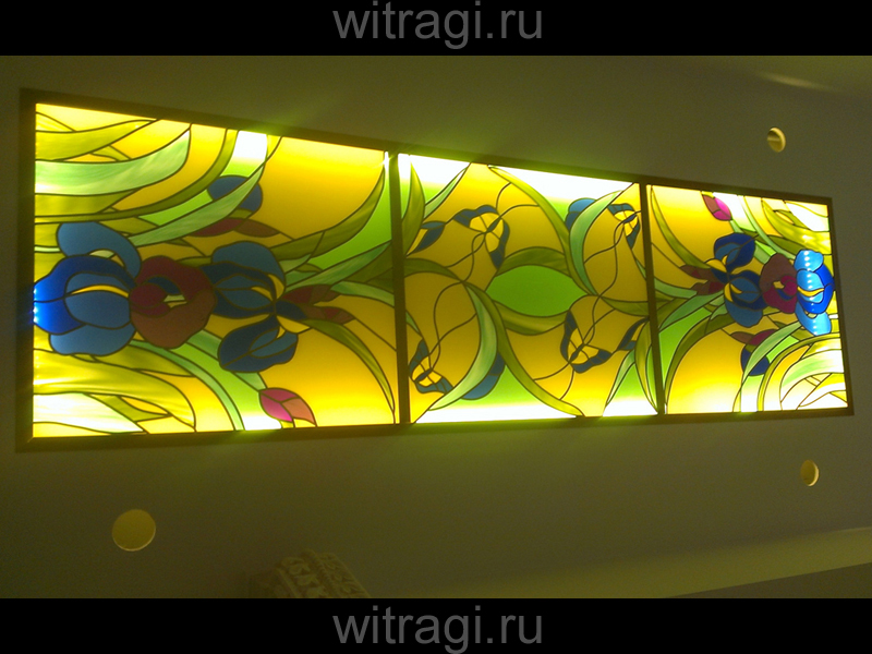 Пленочный витраж: Витраж на потолок «Цветы»