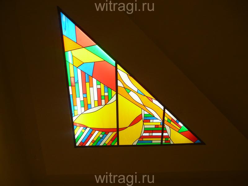 Пленочный витраж: Витражная вставка на потолок с абстрактной композицией «Бесконечность 1»