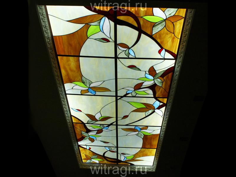 Пленочный витраж: Витраж «Солнечный» на потолок в простой алюминиевой раме