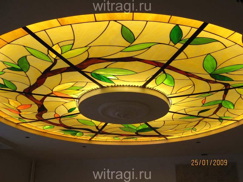 Витраж Тиффани: Витраж на потолок «Ветка дерева» в круговой композиции