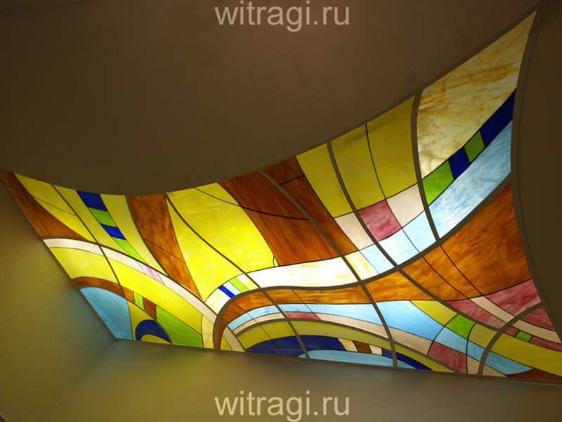 Витраж Тиффани: Пристенный потолочный витраж с абстрактным рисунком «Движение 2»