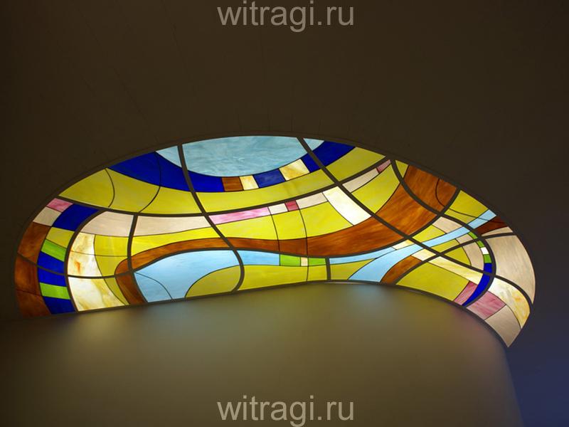 Витраж Тиффани: Пристенный витраж с абстрактным рисунком на потолок «Движение 1»