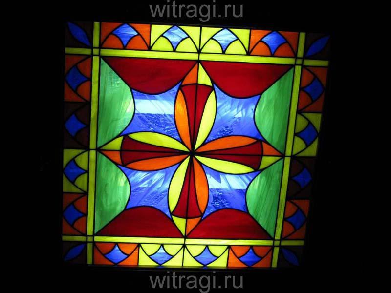 Витраж Тиффани: Потолочный витраж с геометрическим орнаментом «Калейдоскоп»