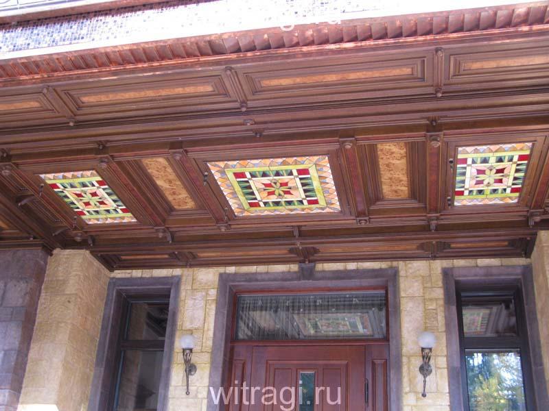 Витраж Тиффани: Витражи с геометрическим орнаментом для украшения входной группы