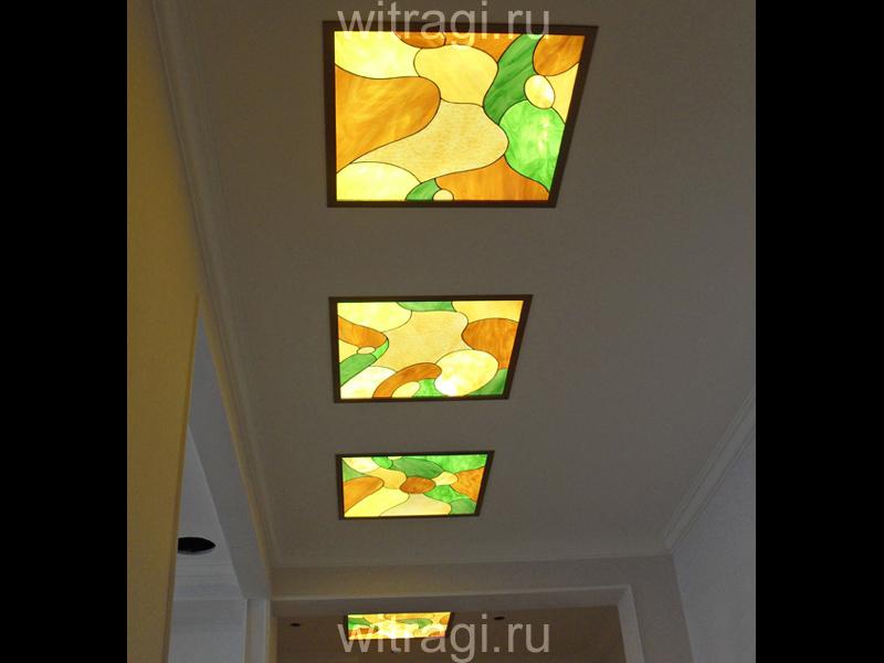 Витраж Тиффани: Витраж на потолок для коридора «Абстракция Метаморфозы»