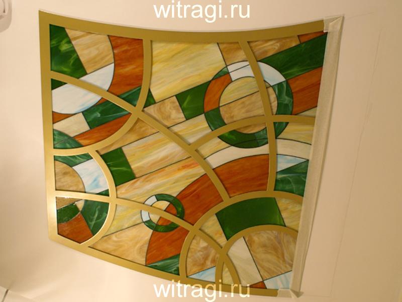 Витраж Тиффани: Потолочный витраж с подсветкой «Абстрактная геометрическая композиция про лето»