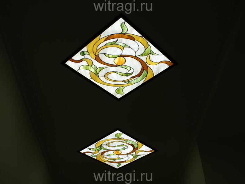 Витраж Тиффани: Витражный потолок «Ромбы с растительными мотивами»