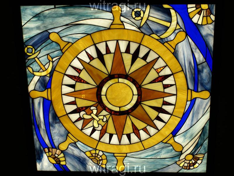 Витраж Тиффани: Потолочный витраж «Морское Путешествие»