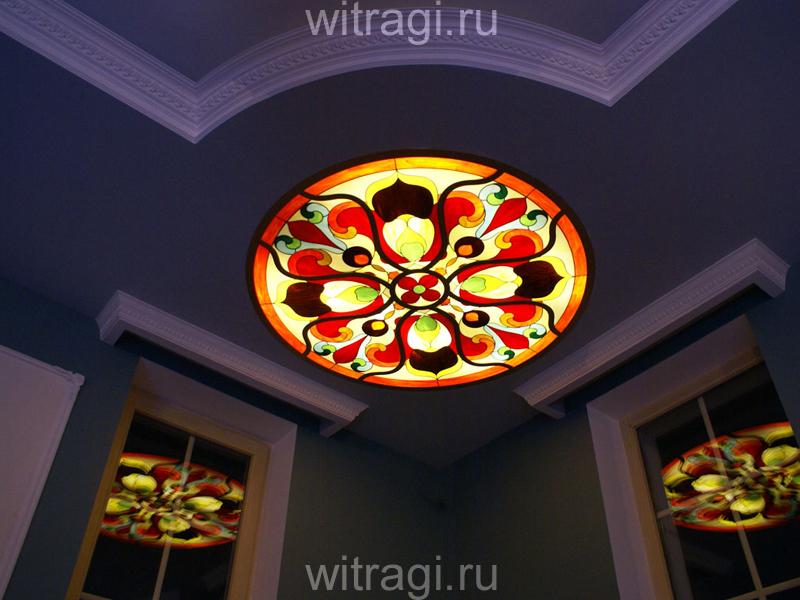 Витраж Тиффани: Витраж на потолок «Барокко в насыщенных тонах. Композиция в круге»