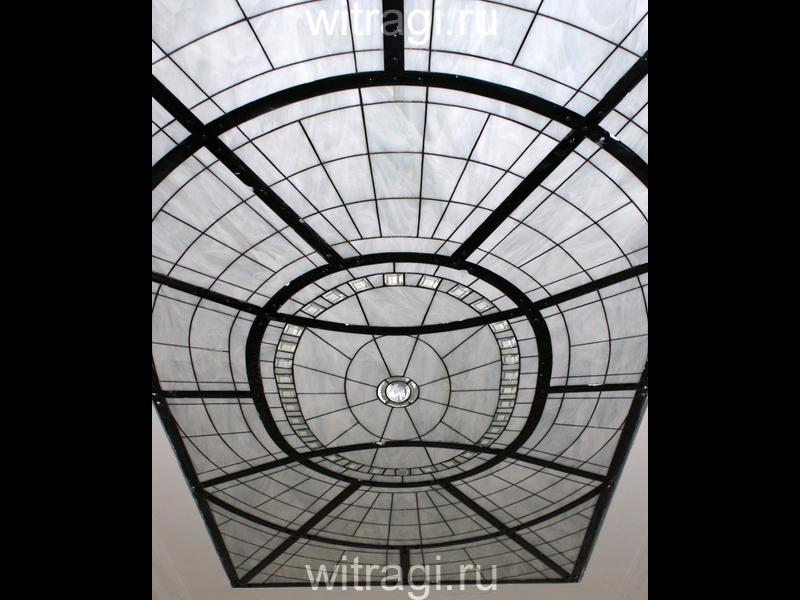 Витраж Тиффани: Потолочный витраж из белого стекла с элементами фьюзинга «Купол»