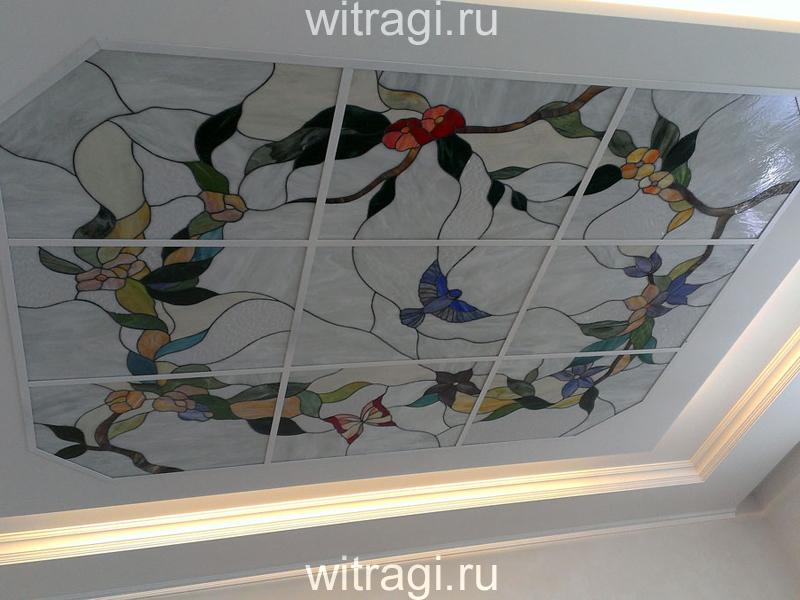 Витраж Тиффани: Потолочный витраж «Цветущие ветви на белом»
