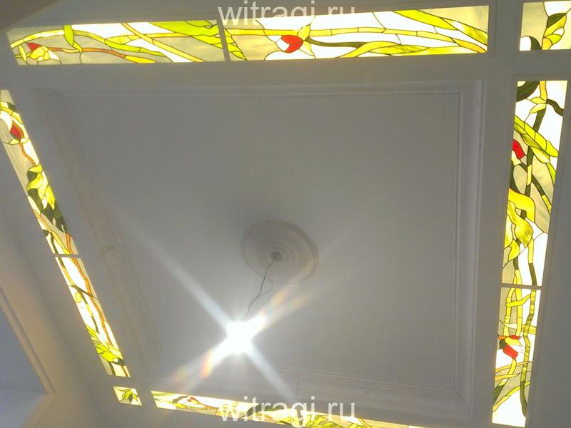 Витраж Тиффани: Витражная композиция на потолок «Солнце тропиков»