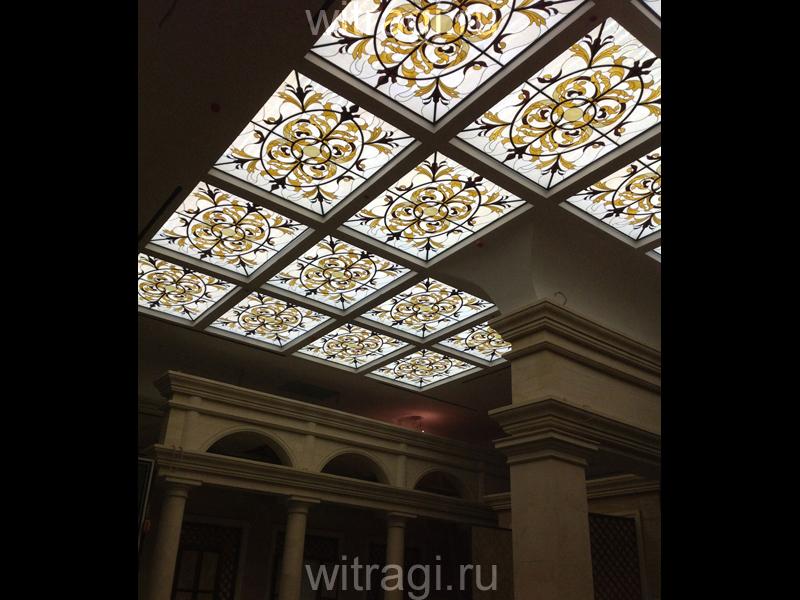 Витраж Тиффани: Витражный потолок «Современный Ампир»