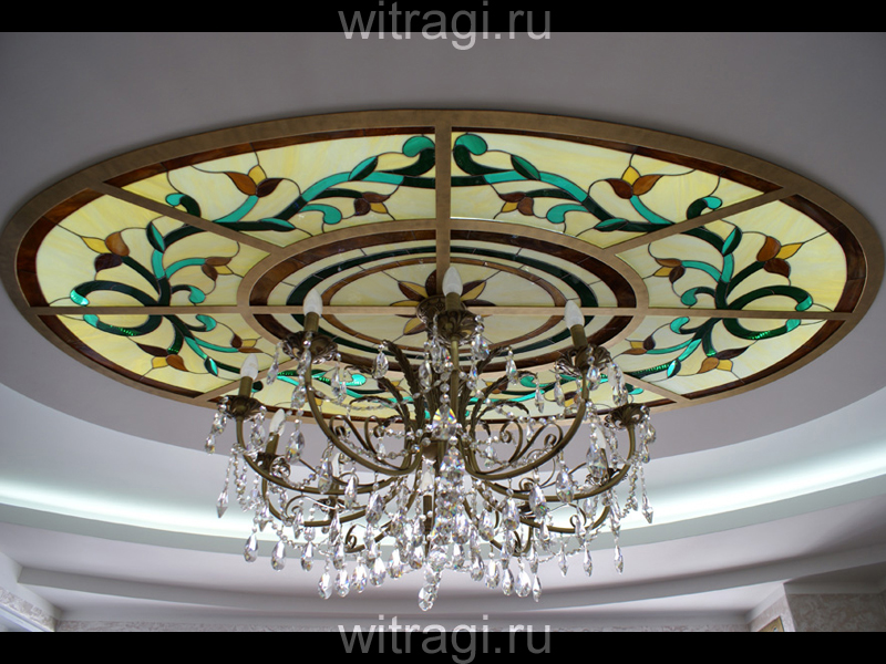 Витраж Тиффани: Овальный витраж на потолок «Классический орнамент»
