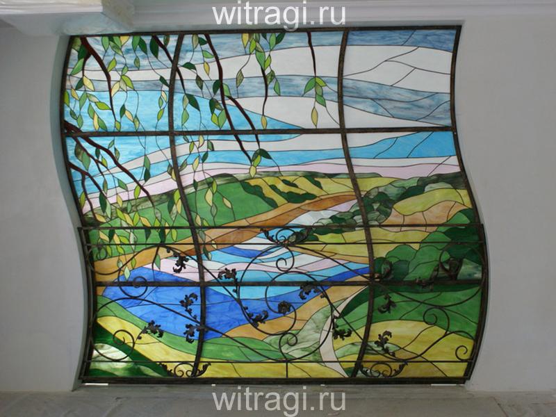 Витраж Тиффани: Витраж в межкомнатный проём «Русское лето»