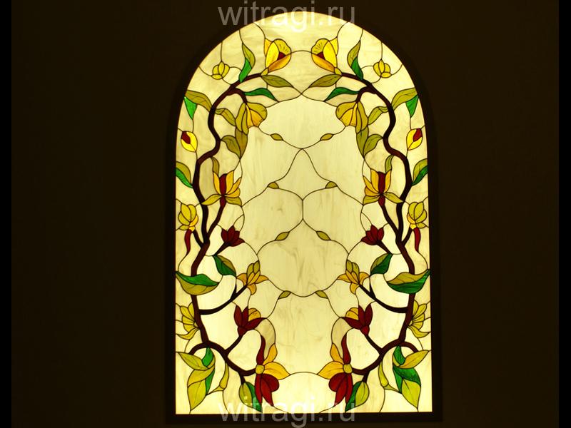 Витраж Тиффани: Витраж в нишу «Золотистые орхидеи»