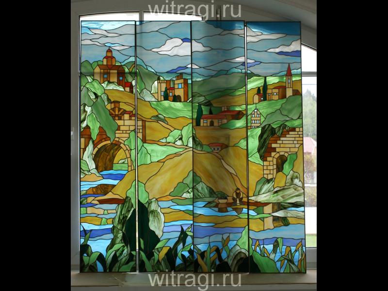 Витраж Тиффани: Несколько витражей объединённых общим рисунком «Прованс»